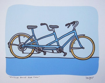 Bicycle Built for Two - A Tandem Bike in the Transportation Series by Danielle J. Hurd -A Great Wedding Gift