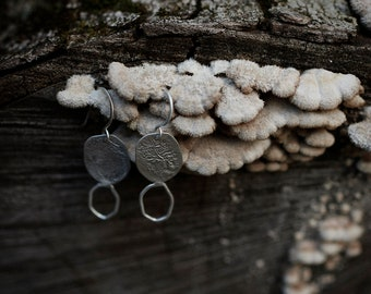 Silver irregular earrings, rough surface earrings, bark earrings, nature inspired, sterling silver earrings