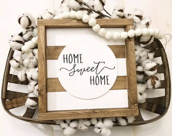 Home Sweet Home Sign / Farmhouse / Framed