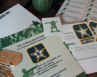 Armée anniversaire Invitation fichier imprimable Boy s bricolage