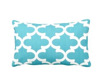 Decorative Pillow Cover Aqua Blue Pillow Aqua Throw Pillow Aqua Lumbar Pillows Moroccan Pillow Sham Quatrefoil Pillows Aqua Blue Cushions