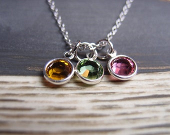 birthstone necklace, sterling silver filled, three birthstone charms, 3 Swarovski Drops necklace, mom jewelry, friends necklace, family