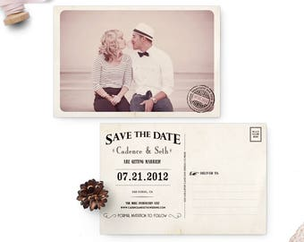 """Wedding save the date post card, Save the Date Vintage, 4x6 - the """"Cadence"""""""