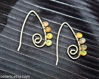 Sterling Opal Earrings October Birthstone Artisan Earrings Handmade Sterling Silver Earrings Bridal Earrings Healing Jewelry Gift For Her