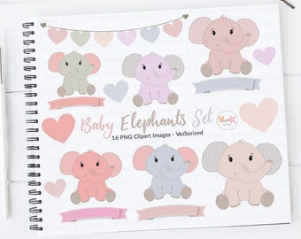 Cute Elephants Clip Art, Elephant Clipart set, Baby Girl Shower, Pink Elephants Clipart, Nursery Scrapbooking, New Baby Girl, Commercial Use