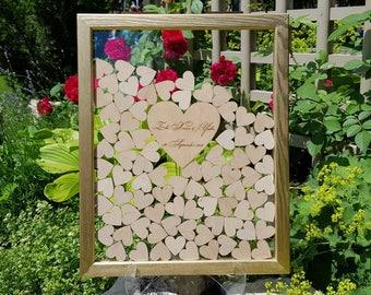 Wedding Guest Book Alternative Guest Book Personalized Drop Top box Heart Guestbook Custom guestbook Wedding Frame Guest Book
