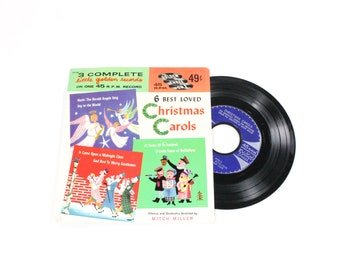 Vintage Christmas Record - Christmas Carols - Little Golden Records 45 RPM - Joy to the World - Children's Vinyl Record Xmas