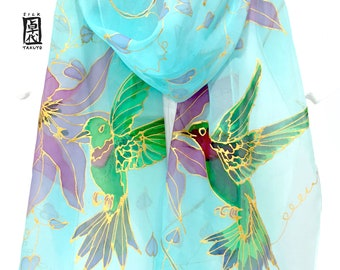 Bird Scarf, Hummingbird Art, Hand Painted Silk Scarf, Chiffon Scarf, Aqua Blue Silk Scarf, , Blue Scarf, Pink Clematis and Green Hummingbird