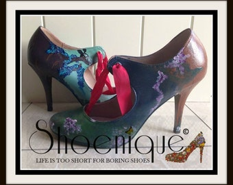 Midsummer Nights Dream Fairy Donkey Shakespeare Literature Shoe High Heels Size 3 4 5 6 7 8 Platform UK Painted Custom Bespoke