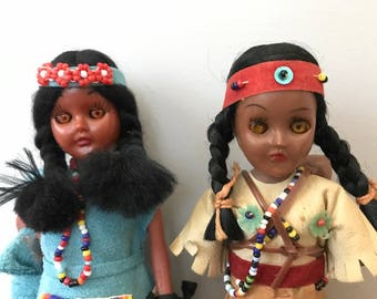 Pair of Vintage Indian Mother and Baby Dolls- Native American Dolls Papoose