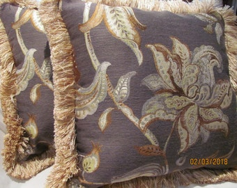 Pair Kravet Couture Brocade Pillow Covers with Fringe Trim