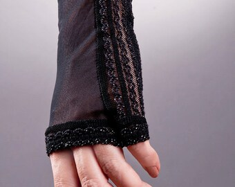 Short Black Lace Fingerless Gloves for Confident Women, Black Fingerless Gloves, Black Lace Gloves, Short Lace Gloves, Short Black Gloves