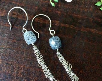 Tourmalinated Quartz Earrings . Black Rutilated Quartz Dangle Earrings . Quartz Sterling Silver Chain Earrings .