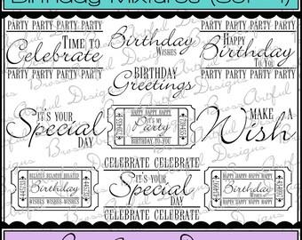 Digital Printable Stamps, Sentiments, Word Art, Clip Art, Card Making, Scrapbooking -Set of 10 -BIRTHDAY MIXTURES -Set 1