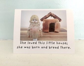 """Adventures of Claudia Porcelain Doll Toast Card """"Born and Bread"""" Funny Notecard"""