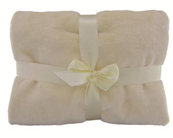 """Soft Ivory Baby Blanket Double-Sided Throw Light Toddler Bedding 30""""x30"""""""