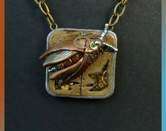Industrial brown beetle necklace, vintage necklace, machine part contraption necklace, steampunk bug necklace, Victorian gear pendant
