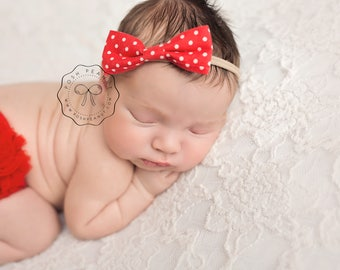 nylon baby headbands, nylon headbands, infant headband, newborn headband, baby girl headbands, nylon headbands baby, skinny bow, polka dot