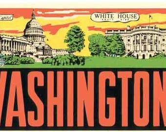 Vintage Style  Capitol Bldg. White House  Washington DC Travel Decal sticker