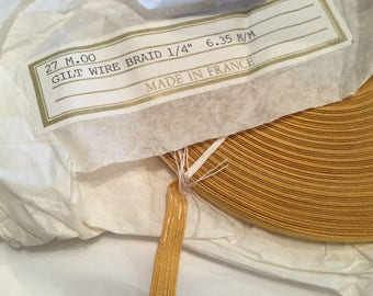 "Gold Braid / Gold Lace /  French Gilt wire Braid / Naval  1/4"" 6.35mm"