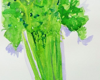 Celery || Kitchen Art ||  Cooking || Vegetables  || Housewarming || Art print download