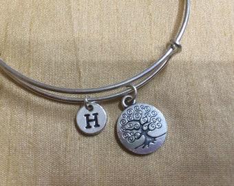 Tree of Life Bracelet initial bracelet, Jewelry,Tree of LifeCharm Bracelet,,Tree of Life bracelet Stack Bangle EA18