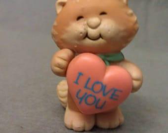 Beige Peach and Tan I Love You Miniature Cat Figurine