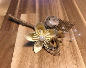 Paper Flower and Hessian Buttonholes, Wedding Flowers, Wedding Guest
