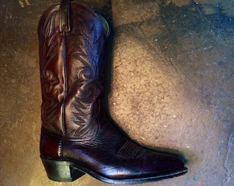 Men's Vintage Burgundy Dan Post Cowboy Boots Size: 9 1/2
