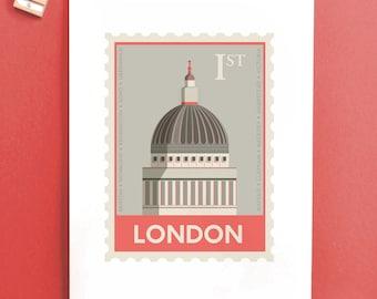 London Stamp print - Housewarming gift - St Pauls - British Art
