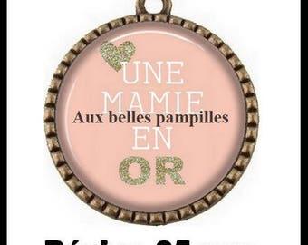 Bronze round Cabochon pendant 25 mm epoxy resin - Grandma gold (1922) - Granny, Grandma, meme, party