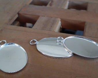 Medium oval cabochon silver 31x19mm♥ 1pc ♥