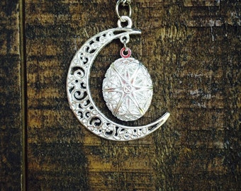 "Crescent Moon Essential Oil Diffuser Necklace~18"" Silver Necklace~Diffuser Locket~Aromatherapy Necklace~Perfume Jewelry"