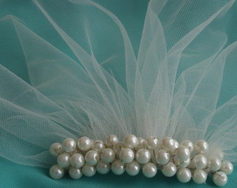 Ivory Pearl Birdcage Veil Petite White Veil Mini Illusion Tulle veil Blusher Veil wedding veil Vintage Style Veil Bridal Accessories