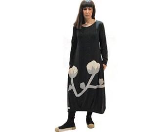 Black dress with flowers applique design/ women long organic cotton dress/ black dress / long sleeves dress/ black dress with pockets