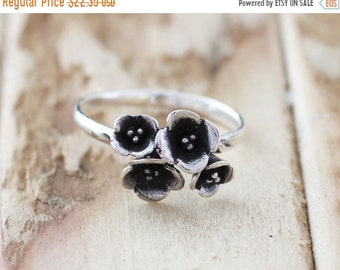 Mothers Day Sale Blossom. Sterling Silver mini flower bouquet petite  Midi Ring