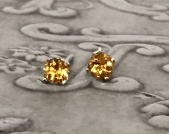 10K Yellow Gold Citrine Earrings Gorgeous Vintage