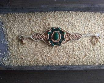 Malachite stone macramé bracelet