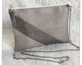 Pink wallet imitation leather bag/pouch/silver chain / evening bag