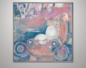 Abstract Acrylic Painting on Canvas. Large Hand Painted Square Colorful Modern Contemporary Art. Blue, Pink and White Painting
