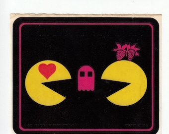 SALE Pac-Man Rare Vintage 80's Sticker - Retro 1982 Midway Arcade Video Game Atari Pac Man Ghost Strawberry Heart Pacman Collectible