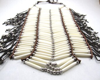 Buffalo Bone Full Breastplate, Pow Wow Necklace, Native American Inspired, Regalia, Bone Hairpipe Breastplate