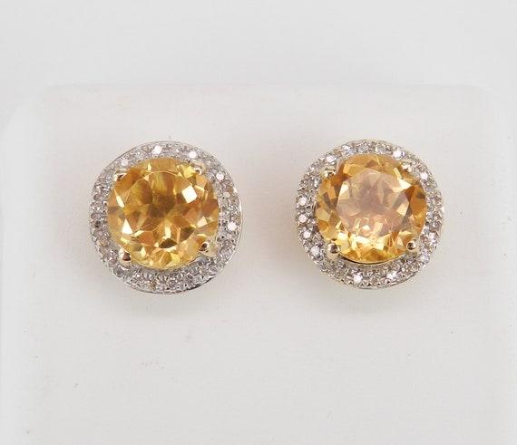 Citrine and Diamond Stud Earrings Halo Studs 14K Yellow Gold November Birthstone