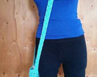 Blue Water Bottle Bag / Water Bottle Holder / Crochet Water Bottle Bag / Festival Bottle Bag / Hiking Bottle Holder / Blue Bottle Cozie