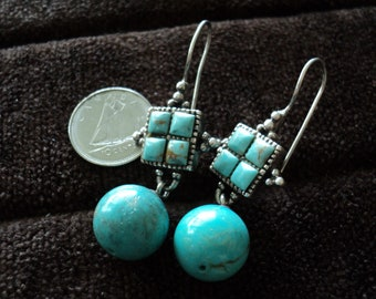 NEW LISTING - Turquoise Sphere & Square Dangle Sterling Silver Earrings