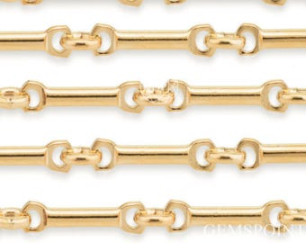 14k Gold Filled Bar Chain 8.5mm 19ga, Sold by the Foot, (CHN-GFC100101)