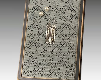 Shabby Chic Earring Holder for Pierced Earrings - Wood Frame Earring Organizer with Hand Painted Screen. Diamond Design. Great Gift Idea!