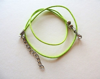 Neon Green wax string for making cotton necklace 47 cm + 5 cm silver extension chain