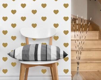 Mini Heart Pattern | Vinyl Wall Sticker,  Decal Art | Set of 80 Hearts, 2-inch wide