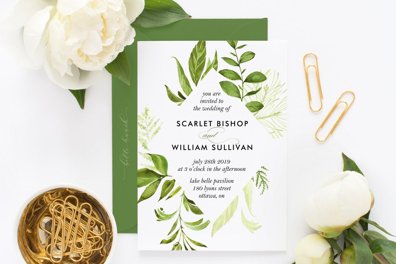 Printable Wedding Invitation Watercolor Wild Green Foliage